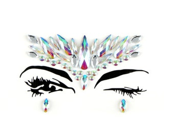 Face jewels & gems, all in one, body bindi stickers, festival rhinestones, jewelry ready to wear, adhesive makeup, glitter, rave gift