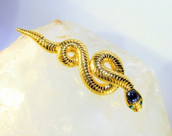 Vintage Hutton Wilkinson Goldtone Snake Brooch with Green and Blue Rhinestones, Articulated Head and Tail, Marked