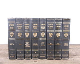 1917 Harvard Classics Book Set / 8 Volume Set / Collier & Son / Old Antique Black Books / Antique History Books / Old Books Vintage Books