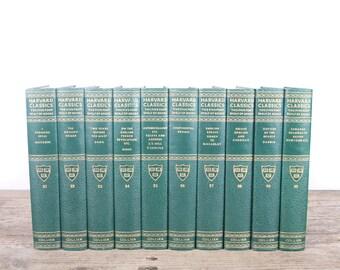 1938 Harvard Classics Book Set / 10 Volume Set / Collier & Son / Old Antique Black Books / Antique History Books / Old Books Vintage Books