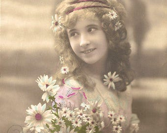 Antique French Photo Postcard Pretty Little Girl with Daisy Flowers from Vintage Paper Attic