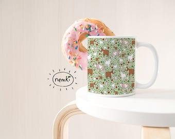 Goat Mug, Ceramic Mug, Goat Coffee Cup, Cute Goats, Goat Pattern, Cute Goat Gifts, Farm Animals, Goat Gift, Goat Designs, Goat Ceramic Mug