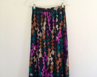 Vintage 80's Abstract Midi Skirt with Pockets S 26
