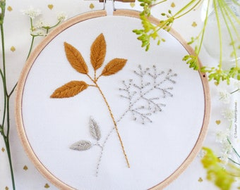Embroidery kit, Wall Decor - Gold & Gray Leaves - Wedding embroidery, Embroidery Hoop Art, Tamar Nahir