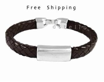 Custom mens bracelet,  Mens bracelet, Men's braided bracelet, Mens leather jewelry, gift for him, dark brown, black, customized cuff,