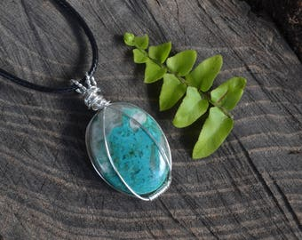 Chrysocolla Necklace, Chrysocolla Jewelry, Canadian Jewellery, Christmas Gift, Autumn Accessories, Adjustable cord, Canadian Shop, Gemstones