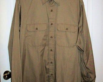 Vintage Men's Tan Long Sleeve Work Shirt by Work n Sport Large Only 12 USD