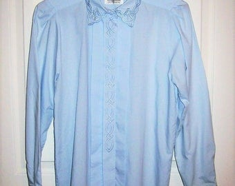 Vintage Ladies Blue Long Sleeve Blouse by Witt Size 6 Only 7 USD