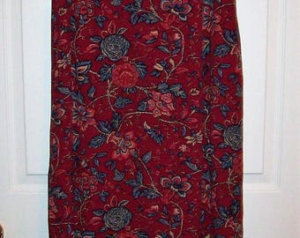 Vintage Ladies Dark Red Wine Floral Print Skirt by Charter Club Size 8 Only 8 USD