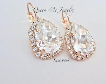 Gold crystal earrings, Halo crystal earrings, Swarovski Crystal earrings, Brides earrings, Bridesmaids earrings, Wedding earrings - SOPHIA