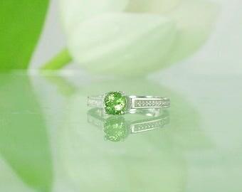 October Birthstone Ring, October Birthstone, Green Tourmaline Ring, Tourmaline Ring, Tourmaline Sterling Ring, Green Gemstone Ring, Ring