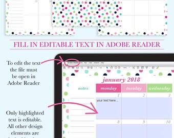 2018 Calendar Printable, Half Page Calendar, 2018 Desktop Calendar, 2018 Printable Calendar, Planner Inserts, Planner Page, Half Letter