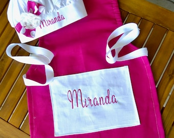 Girls apron chefs hat personalized party apron set in pink includes name