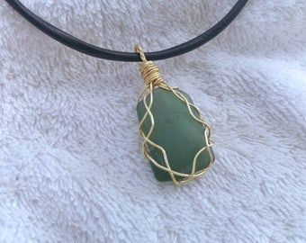 Emerald green sea glass necklace. Reversible bezel wrap seaglass pendant. Israel beach jewelry. Simple gift for her.
