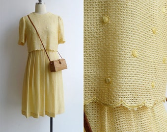 Vintage 80's 'Sunshine Yellow' Scallops & Embroidered Polka Dot Pleated Dress XS or S