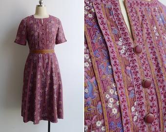 Vintage 80's 'Daisy Garlands' Folk Floral Berry Purple Cotton Dress S