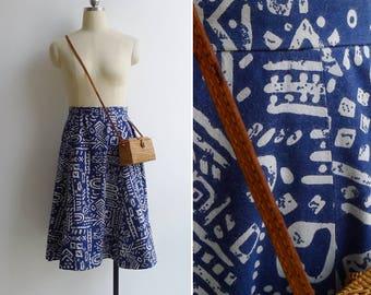 Vintage 80's Blue Tiki Batik Wax Print Cotton Midi Skirt XS or S