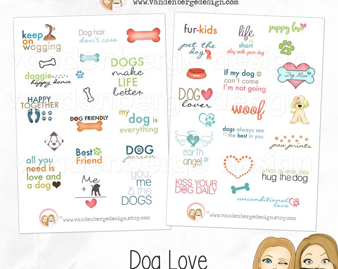 Planner Calendar Stickers - Dog Love- Dog stickers - Perfect for all Planners!