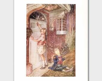 "Fairy Tale Art, Alice in Wonderland Print --- ""Knock, Knock"" No. 91"