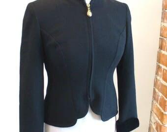 Vintage Christian Dior  Black Zip Front Jacket Size 2P