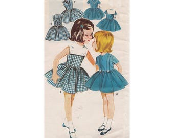 Vintage 1963 Little Girls Flared Bouffant Dress Pattern Butterick 2553 Childrens Size 4 Detachable Collar/Cowboy Scarf Uncut Sewing Pattern