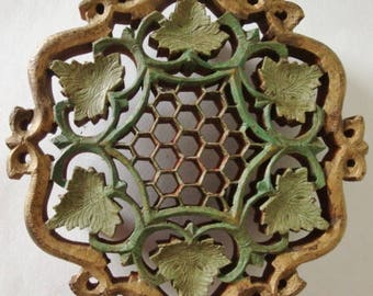Carved Wood Footed Trivets from India Set of 4