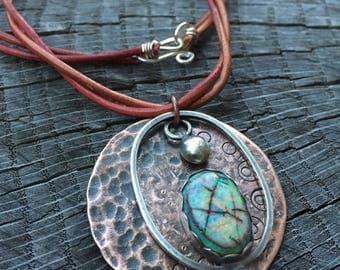 Monarch Opal & Brown Leather Necklace Rustic Copper w/ Sterling Silver Mixed Metals Moon Pendant October Birthstone - Rustic Viking Jewelry