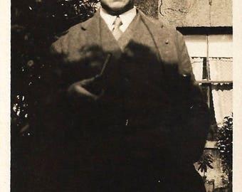 """Vintage Snapshot """"Dark Shadows"""" Stern Older Man Half-Hidden In Shadow Found Vernacular Photo"""