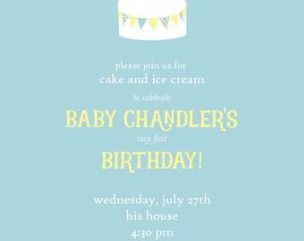 First Birthday Baby Boy Invitation-Cake