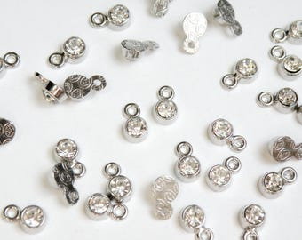 20 Tiny Rhinestone Drops Clear Crystal charms silver finish 8x5mm April birthstone DB20413