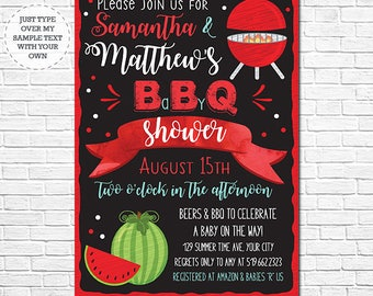 BBQ Baby Shower Invitation - Baby Q Baby Shower Invitation - Barbecue Baby Shower - Instantly Download & Personalize in Adobe Reader at home