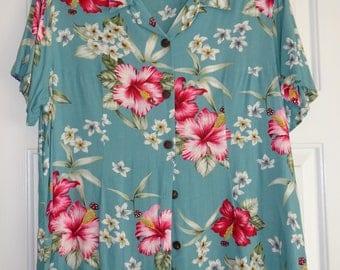 Vintage Blouse Women's Aloha Hut Size L Large Short Sleeves Teal Pink Floral