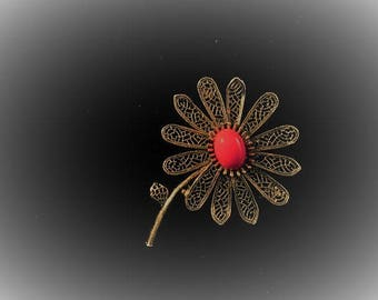 Vintage Flower Brooch/Pin/By ART/Dark Red Cabochon Center