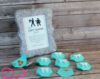 Dirty Diaper Game Light Teal Diaper Pins and matching Silver Glitter Frame - Designer Inspired - Baby & Company Baby Shower Games