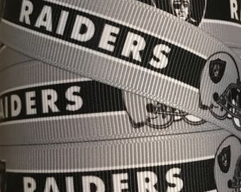 7/8 Inch Grosgrain Ribbon - Printed Grosgrain Ribbon - Oakland Raiders Ribbon  - Ribbon By The Yard - Ribbon Supply -  Football Ribbon