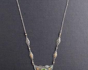 Art Deco Peridot Filigree White & Yellow Gold Necklace.