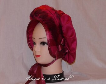Regency Bonnet trimmed with feather and ribbon