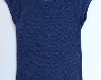 Vintage Navy String Tshirt - Fishnet Net Mesh top - Stretchy - unisex - cotton navy blue - Small Medium 34/36