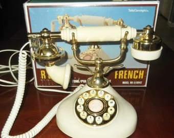 Vintage Push Button Phone Regal French Telephone Princess Push Button Phone 1980's