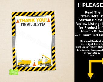 Construction Thank You Card -  Construction Note Card - Truck Thank You Card - Personalized Note Card - Emailed or Shipped Available
