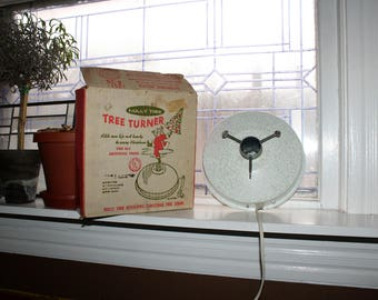 Revolving Christmas Tree Stand Holly Time Tree Turner Vintage 1950s