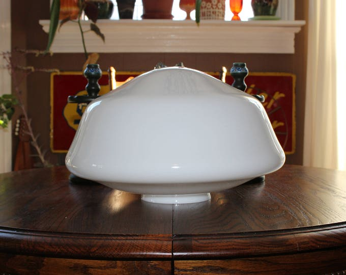 "Vintage Milk Glass 18"" Schoolhouse Light Fixture Globe Huge"