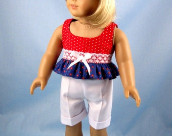 Doll Clothes 18 Inch - Doll Play Outfit - Fits American Girl Dolls - Red White and Blue Doll Hat Shorts and Knotted Top - Doll Clothes 18""