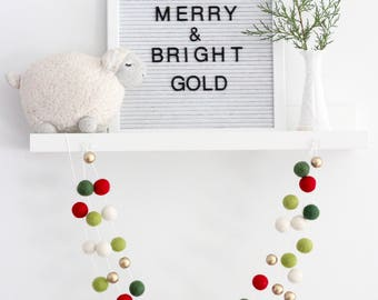 Merry & Bright Gold Christmas Garland- Red, Green, Gold Garland- Christmas mantle- Christmas tree Garland- Xmas Garland- Red Green Decor