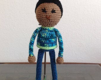 Crochet Androgynous Doll with Pompadour, biracial multiracial ambiguous, non gendered, boy girl kids children Gift, MADE TO ORDER
