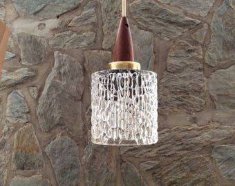 """Mid-century modern pendant light. Danish style. Pressed textured """"bubble"""" glass, teak and brass top, teak and brass ceiling fixture."""