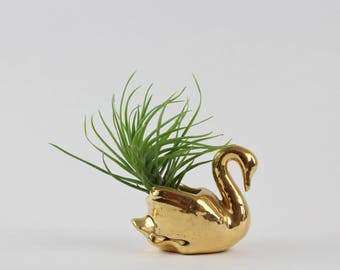 Vintage Golden Swan Planter Figurine -  Ceramic Swan Air Plant Holder