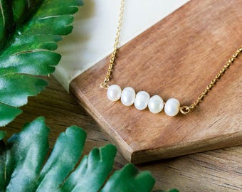 Dainty white pearl necklace | Simple gold plated layering necklace | Gifts for her under 20 | June Birthstone | Freshwater pearl bar |