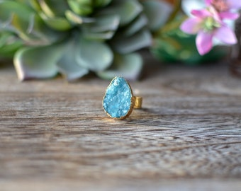 Sale Blue Druzy Ring