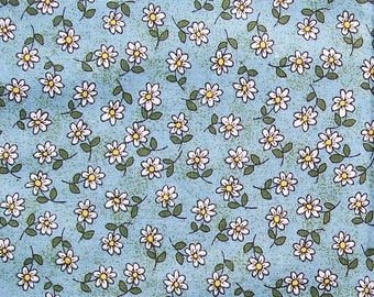 Field of Daisies COTTON FABRIC 1/2 yd White flowers on Turquoise Quilt Sew Craft